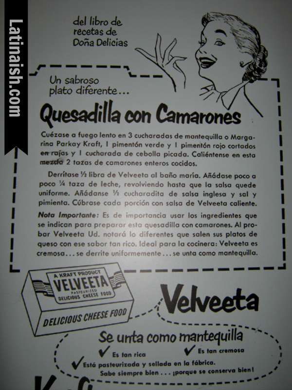 Arias did freelance work for various brands, like this recipe for Velveeta.