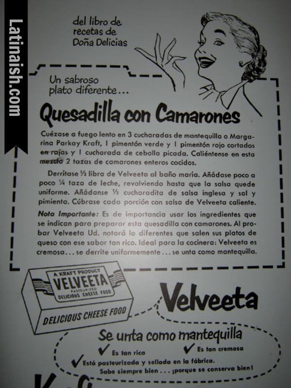 Arias did freelance work for various brands, like this recipe for Velveeta.
