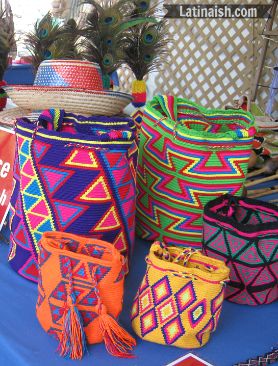 Woven bags made by the Wayuu people of Colombia.