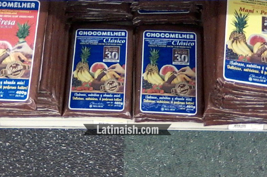 Chocomelher brand melting chocolate for making chocobananos on the shelf at a mercado latino 2013