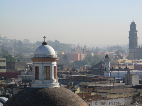 Puebla from the 7th floor of the Holiday Inn rooftops and church spires