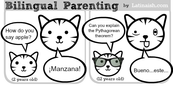 funny bilingual parenting comic by Latinaish.com