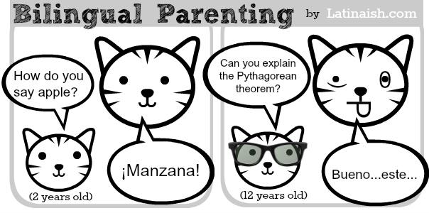 funny bilingual parenting comic by Latinaish.com